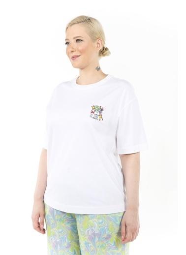 Luokk Donna Nakış Detaylı Yuvarlak Yaka Kadın T-Shirt Beyaz Beyaz